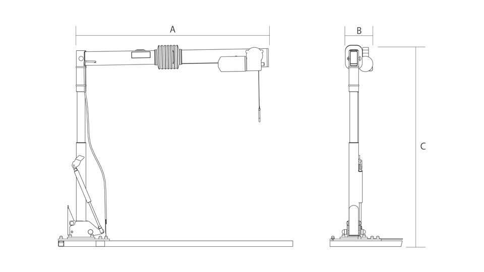 車いす収納装置 カロリフト40 寸法図