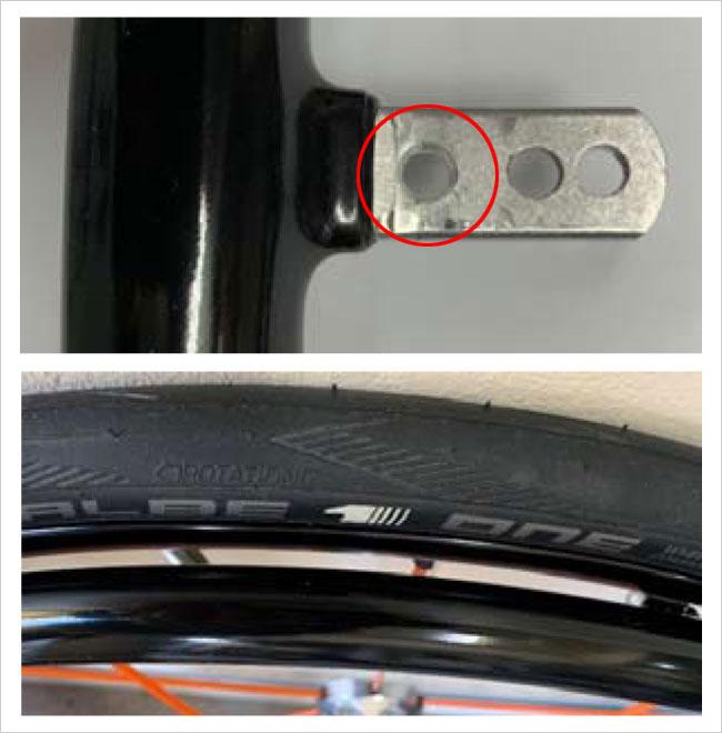 T-Grip ハンドリム オプション追加穴あけ加工の状態