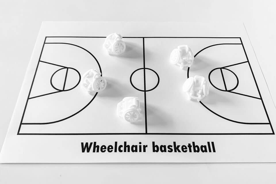 3Dプリントした車いすバスケットボールのバスケ車にピッタリサイズのコート