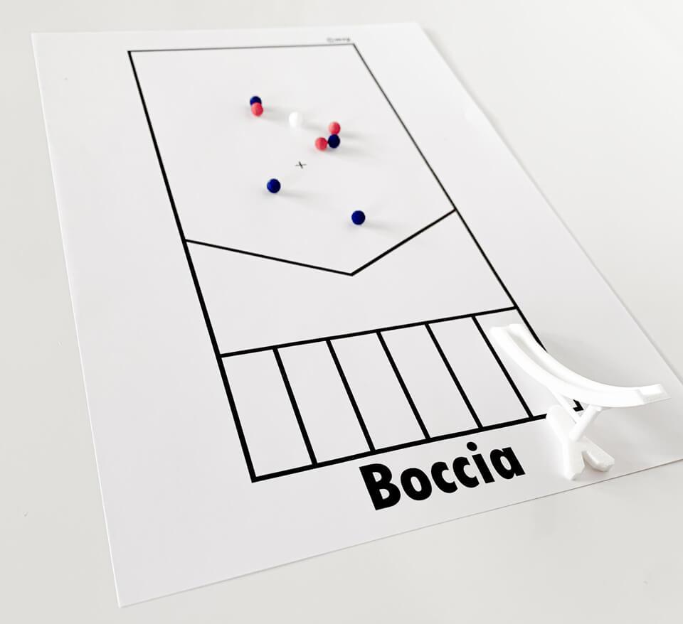 3Dプリント商品の「「ボッチャ ミニランプセット」」にピッタリサイズの競技用のコート(A4サイズ)です