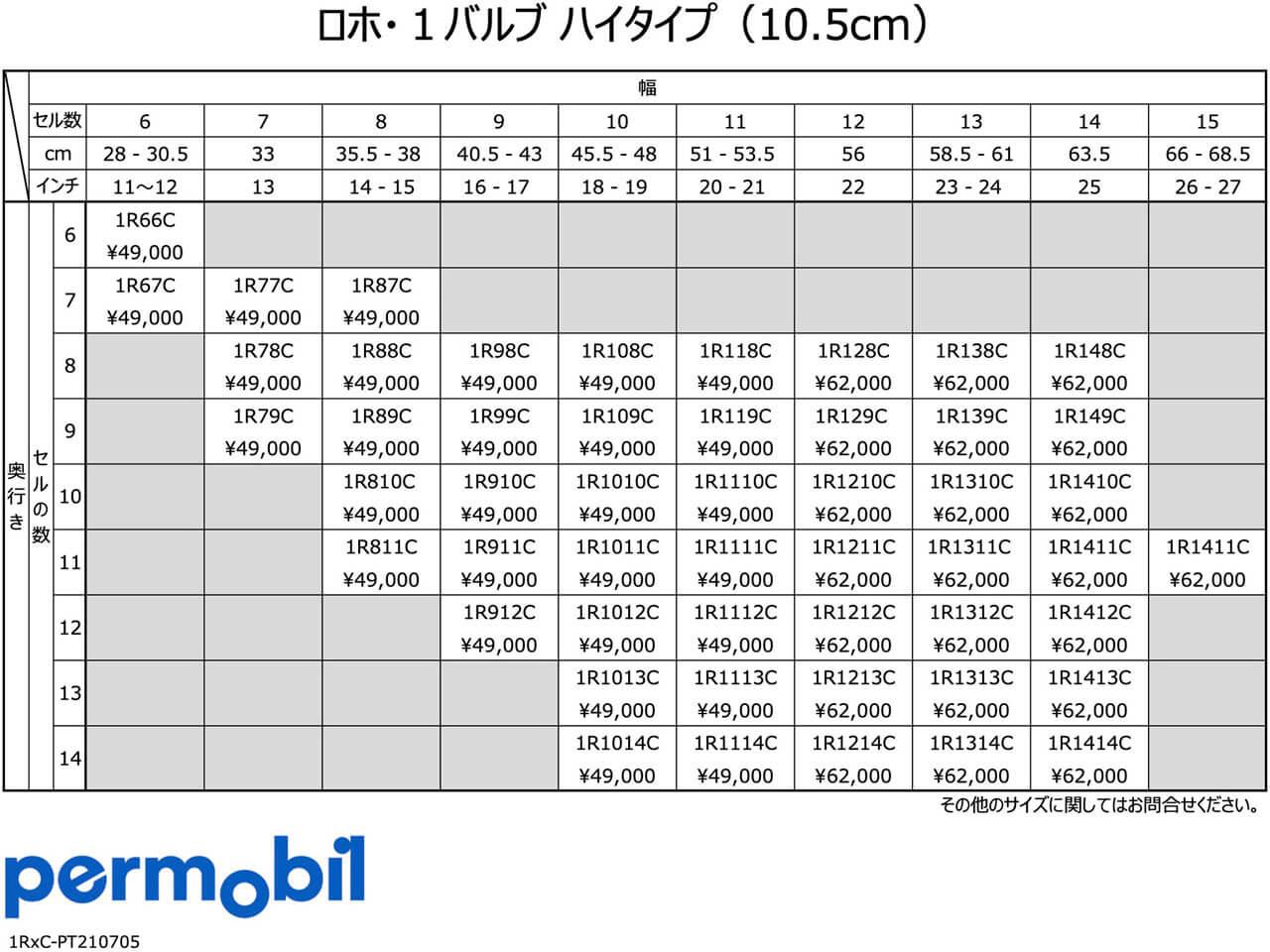 ロホクッション 1バルブ・ハイタイプ サイズ一覧